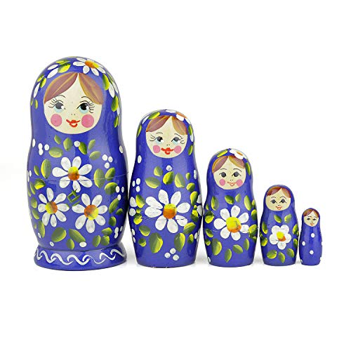 Heka Naturals Russian Nesting Dolls, 5 Traditional Matryoshka Romashka Style | Babushka Wooden Dolls, Blue with White Flower Design, Hand Made in Russia | Romashka 5 Piece, 7.1 inches