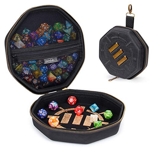 ENHANCE Tabletop Gaming Dice Case and Dice Rolling Tray - Dice Tray and Storage Container for up to 150 RPG Dice - Rugged Protective Design with Soft Interior - DND Dice Case Perfect for Game Night