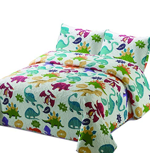 Better Home Style Multicolored White Dinosaur Dinosaurs Jurassic Park World Kids/Boys/Girls/Unisex/Toddler Coverlet Bedspread Quilt Set with Pillowcases # 2019174 (Twin)