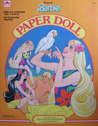 Tropical BARBIE Paper Doll Book w Barbie, Ken, Miko & Skipper Dolls & Pre-Cut Fashions (1986 Golden)