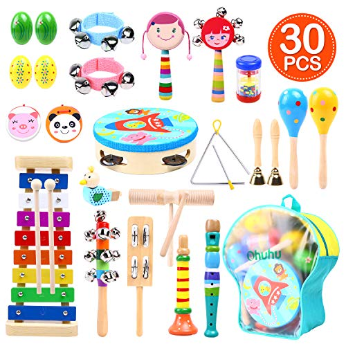 Music Instruments for Kids 30 Pcs, Ohuhu Music Toys Kid Musical Instrument Set for Child with Tuned Xylophone, Storage Backpack Included, Birthday Gift Presents Set for Kids