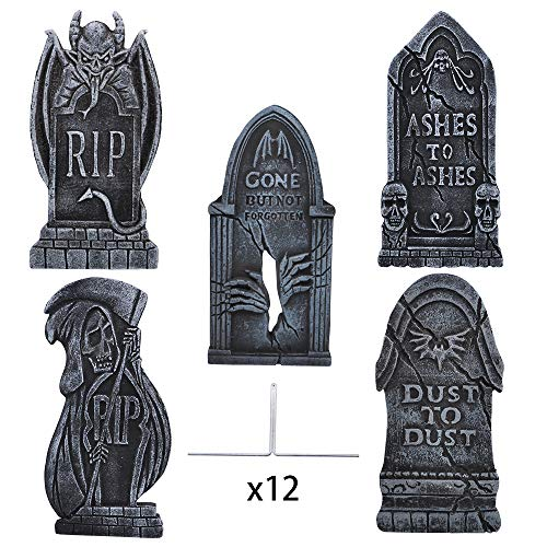 "17"" Halloween Foam RIP Graveyard Tombstones (5 Pack), Headstone Decorations with Different Styles and 12 Bonus Metal Stakes for Halloween Yard Decorations"