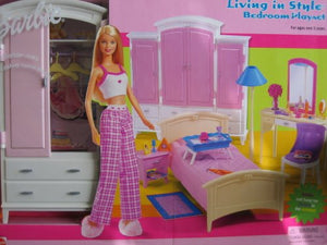 Barbie Living in Style Bedroom Playset w Armoire, Vanity & More! (2002)