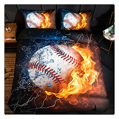 Homebed 3D Sports Baseball Bedding Set for Teen Boys,Duvet Cover Sets with Pillowcases,Twin Size,2PCS,1 Duvet Cover+1 Pillow sham