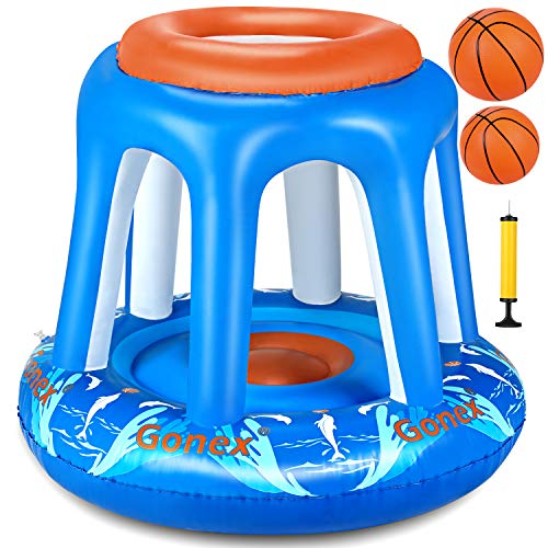 Gonex Basketball Hoop Water Inflatable Pool Basketball Swimming Toys Games for Adults Teen Kids Family with Hand Pump 2 Water Balls