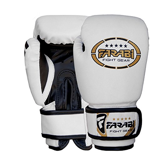 Farabi Sports Kids Boxing Gloves 4-oz Kickboxing Muaythai Punching Bag Training Gloves Age 4-8 Year (Black, 4-oz (Age 4-8) (White, 4-oz)