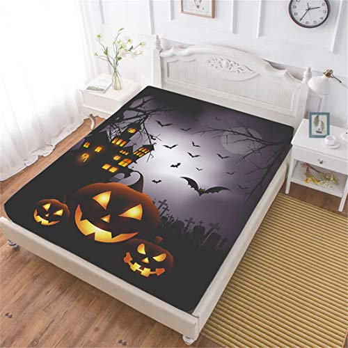 Oliven Halloween Fitted Sheet Queen Size,Halloween Pumpkin Deep Pocket Sheet 1 Piece Halloween Decor