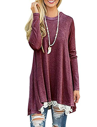 Women's Crew Neck Long Sleeve Lace Splicing Swing Shirt Dresses Long Tunic Blouses Shirts for Leggings Wine