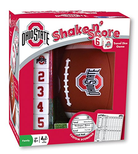 MasterPieces NCAA Ohio State Buckeyes, Shake N' Score Travel Dice Game, with Custom Scorepad, For Ages 6+