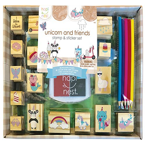 Hapinest Unicorn Wooden Stamp and Sticker Activities Arts and Crafts Set for Girls Gifts Age 4 5 6 7 8 9 10 Years Old