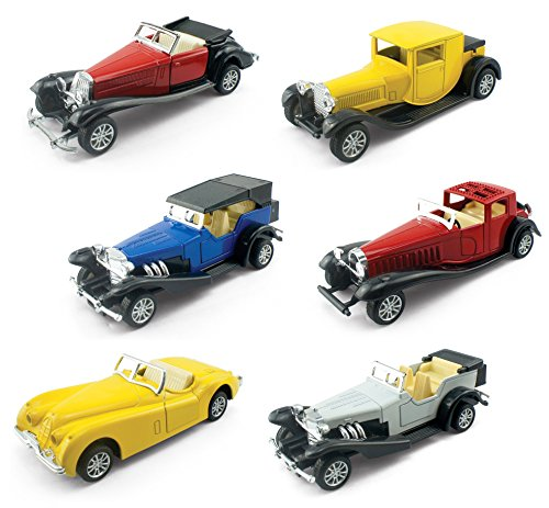 Liberty Imports Set of 6 Assorted Pullback Diecast Metal Antique Classic Model Cars (1:32 Scale)