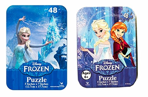 Mini Puzzles in Travel Tin Cases: Disney Frozen Snow Queen Elsa and Anna (48 Pieces Each) Girls Kids Collectible Set of 2