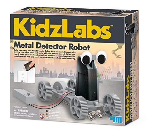 4M Kidzlabs Metal Detector Robot Kit –Stem Toys Rc Science Project Educational Gift for Kids, Brown/A, Model:4607
