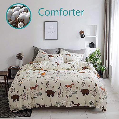 Wellboo Bear Comforter Sets Beige Yellow Cartoon Animals Bedding Sets Fox Rabbit Girls Children Twin Quilt Cotton Kids Toddler Zoo Forest Blanket Cute Light Color Bedding Sets Soft Warm Lightweight