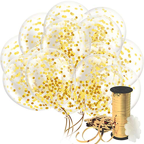Decopom Gold Confetti Balloons Curling Ribbon - Roll & Flower Clips 32 Pack | Premium 12 Inch Latex Party Balloons - Filled Round Golden Mylar Foil Dot Confetti Birthday, Wedding, Proposal…