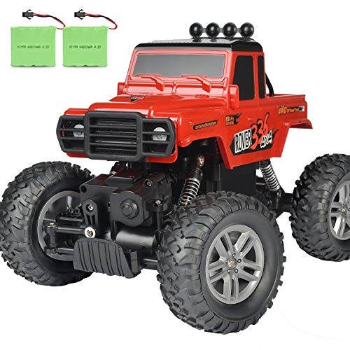 RC Car, DOUBLE E 2020 Updated Remote Control Car 2.4Ghz Off Road Monster Trucks for Boys with Two Rechargeable Batteries DIY Sitcker Electric Toy Truck for All Kids