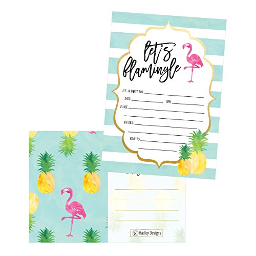 25 Flamingo Party Invitations for Kids, Teens, Adults, Boys & Girls, Blank Children Happy 1st Birthday Invitation Cards, Unique Baby First Bday Invites, Toddler 1 2 3 Year Old rsvp Invites Fill In