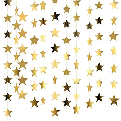 130 Feet Glitter Star Paper Garland Banner Hanging Decoration for Graduation Class of 2020 Congrats Grad Wedding Birthday Festival Party Decoration (Gold)