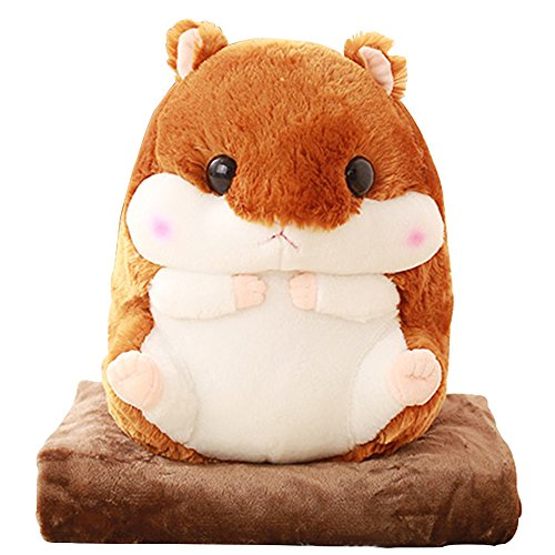 Kosbon 3 in 1 Cute Hamster Plush Stuffed Animal Toys Throw Pillow Blanket Set