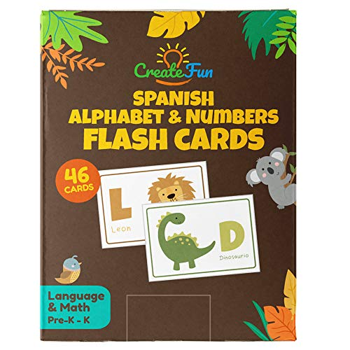 Spanish Animal 123 and ABC Flash Cards for Babies, Toddlers, Pre-K & Kindergarten Children | Complete Alphabet in Uppercase & Lowercase with Numbers for Preschool Learning | 46 Extra Thick Flashcards