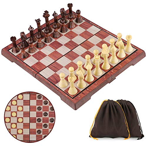 iBaseToy Magnetic Chess Set, 2 in 1 Chess and Draughts Set Chess Checkers Game Set Folding Chess Board for Adults and Kids - 36 x 31cm