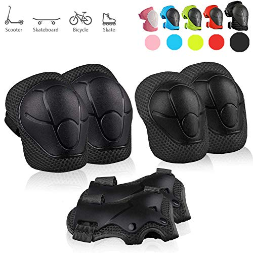skybulls Kids Knee Pads Elbow Pads Wrist Guards, Children Toddler Breathable Protective Gear Set for Skateboard Rollerblading Inline Roller Skating Cycling Bike Scooter