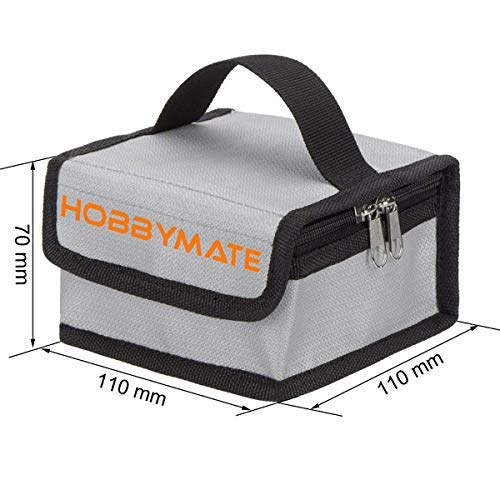 Hobbymate Lipo Charging Bag Fireproof, Lipo Battery Safe Bag for Storage & Charging Lipos - Mini Size (110x110x70 mm)