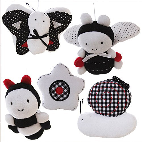 SHILOH Baby Infant Crib Stroller Mobile Hanging Rattles Set 5 PCS, Without Rings (White & Black)