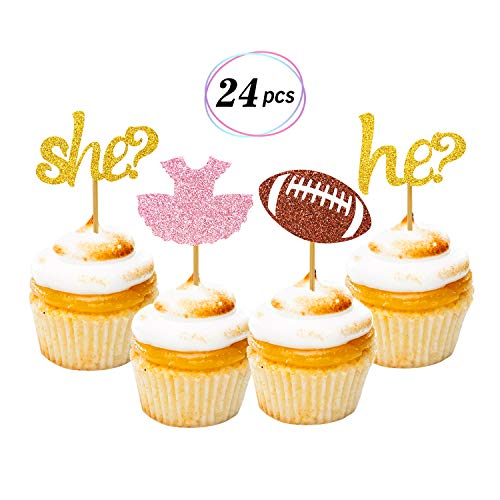 Faisichocalato Tutus or Touchdowns Gender Reveal Cupcake Toppers 24 Pack Glitter Gender Reveal Party Cake Decoration Baby Shower Party Supplies