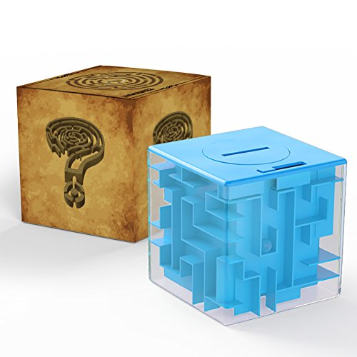 Acekid Money Maze Bank, Coin Cash Bill Storage Box, Game Change Toy, Super Great Gifts(Blue)
