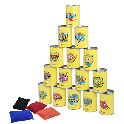 iBaseToy Carnival Games Kids Beanbag Toss Game Set 19 Pieces, Carnival Outdoor Throwing Games for Kids Adult Family Carnival Theme Party Tin Can Game Supplies