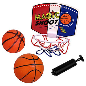 WEY&FLY Plastic Basketball Set Hoop Game Toy, Kids Junior Basketball Play Set for Kid Education and Basketball Lovers, with Two Balls and Pump�