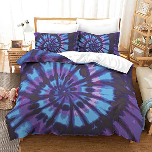 Purple Tie Dye Duvet Cover Set Blue Purple Tie Dyed Bedding Blue Purple Spiral Tie Dyed Printed Purple Boho Hippie Bedding Sets Twin (66x90) 1 Duvet Cover 1 Pillowcase (Twin, Blue Purple)