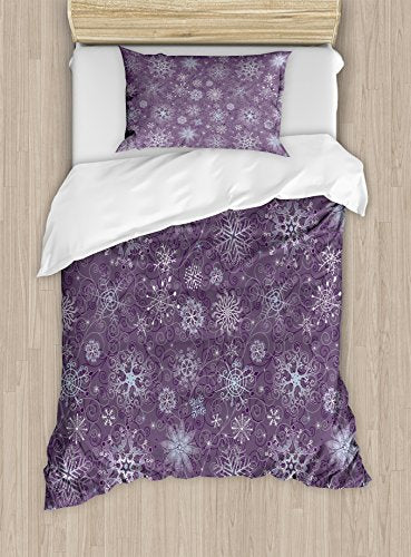 Ambesonne Eggplant Duvet Cover Set, Christmas Inspired Flowers Snowflakes and Swirls in a Violet Delicate Environment, Decorative 2 Piece Bedding Set with 1 Pillow Sham, Twin Size, Violet