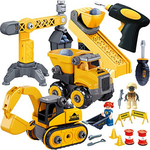 JOYIN 4 in 1 Take Apart STEM Build Your Own Construction Vehicle Truck Toy Playset with Electric Drill Toy