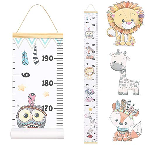 JJGoo Baby Growth Chart Hanging Ruler Wall Decor, Wood Frame Fabric Canvas Removable Height Measurement Ruler Wall Height Growth Chart for Kids Toddlers and Babies�(Animal Pattern)