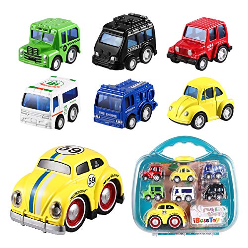iBaseToy Pull Back Cars Toys for Kids, 1 Big Plus 6 Mini Assorted Pull Back Vehicles Toy Set & Push and Go Car Toy, Pull Back & Go Car Toy Play Set for Toddlers Boys Child- with Exquisite Gift Box