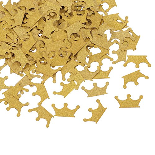 Topoox Gold Glitter Crown Confetti Table Decorations for Prince Baby Shower 1st Birthday Party Supplies, Pack of 100