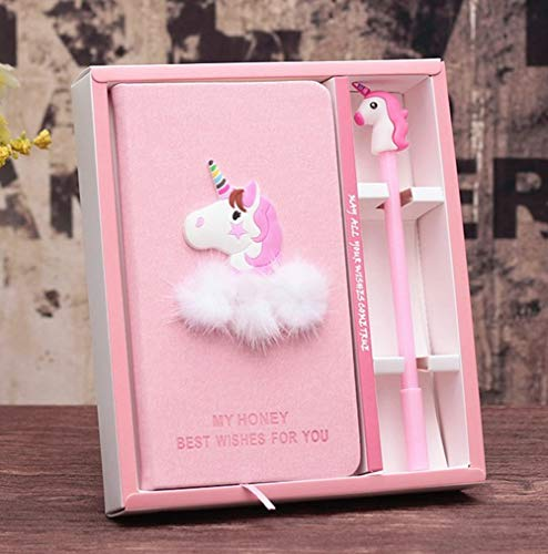XXMANX Unicorn Diary Notebook Gift Set for Girls, Gifts for Girls of All Ages: 3 4 5 6 7 8 9 10 11 12 (Pink)