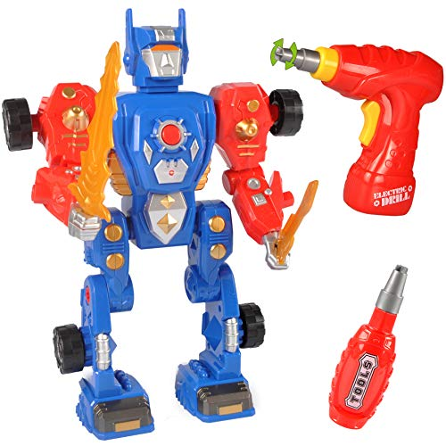 Liberty Imports Kids Take Apart Toys - Build Your Own Space Robot Transform Toy Construction Playset - Realistic Sounds and Lights with Tools and Power Drill (Space Robot)