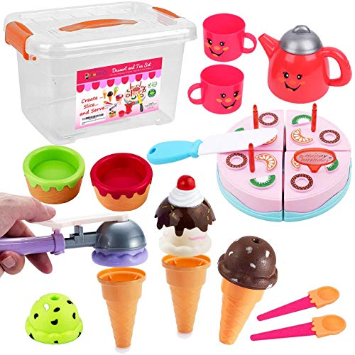 FUNERICA Pretend Play Food Dessert Set - Ice Cream - Happy Birthday Cake - Play Tea Set - with Beautiful Storage Box | Great for Any Toy Kitchen Set or for Birthday Party