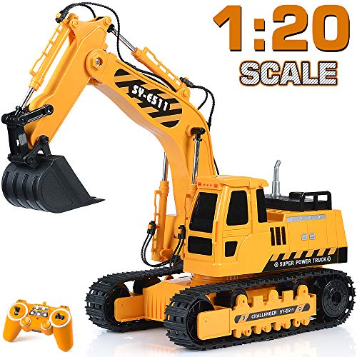 DOUBLE E Remote Control Excavator RC Toy 1:20 RC Excavator Fully Functional Construction Tractor, 11 Channel Rechargeable RC Truck with Lights Sounds 2.4Ghz Transmitter