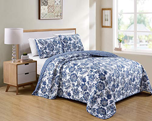 Kids Zone Home Linen 2 Piece Twin/Twin Extra Long Bedspread Set Floral Printed Pattern Blue White with Some Beige