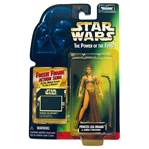 Star Wars, The Power of the Force Green Card, Princess Leia Organa (Jabba's Prisoner) Action Figure with Freeze Frame Slide, 3.75 Inches