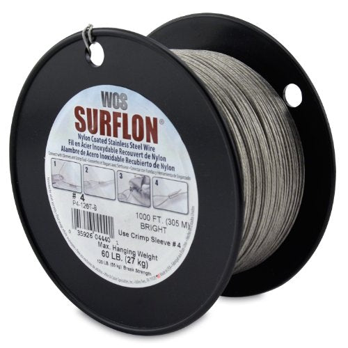 Surflon Size 4-60-Pound Break 1000-Feet Crimping Picture Wire Nylon Coated Stainless Steel, Bright