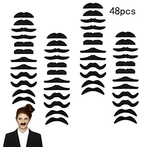 48PCS Self-Adhesive Fake Mustaches - Novelty Fake Mustaches for Masquerade Party Performance