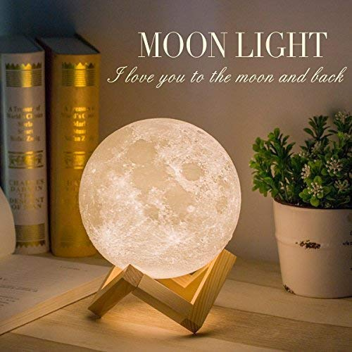 Mydethun Moon Lamp Moon Light Night Light for Kids Gift for Women USB Charging and Touch Control Brightness 3D Printed Warm and Cool White Lunar Lamp(5.9 in Moon lamp with Stand)