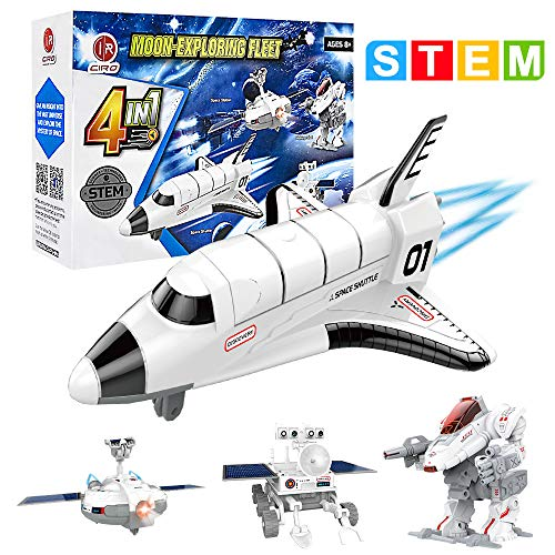 CIRO Space Toys 4 in 1 STEM Solar Robot Kit Space Explorer Science Engineer Building Toy with Moon Rover, Space Shuttle and Space Station for Boys and Girls