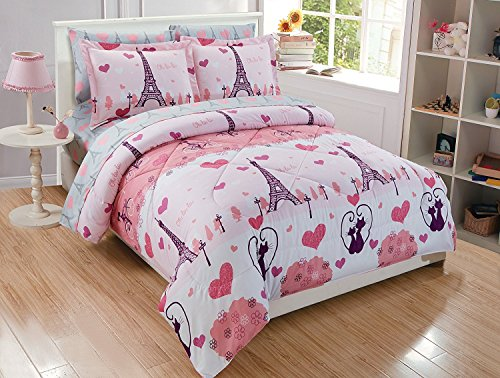 Elegant Home Multicolors Pink Grey Paris Eiffel Tower Bonjour Design 7 Piece Full Size Comforter Bedding Set for Girls/Kids Bed in a Bag with Sheet Set # Paris (Full Size)