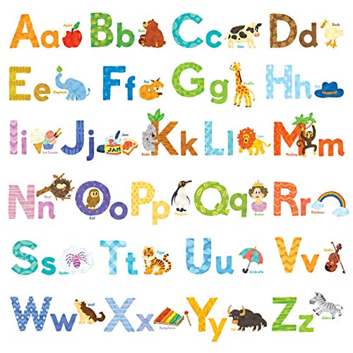 DECOWALL DW-1608S Watercolour Animal Alphabet ABC Kids Wall Decals Wall Stickers Peel and Stick Removable Wall Stickers for Kids Nursery Bedroom Living Room